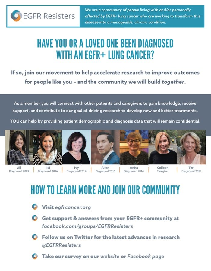 EGFR Lung Cancer Resisters Group Flyer - Learn and Join